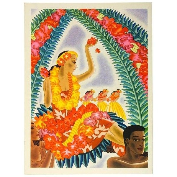 Hawaiian Wall Art For Favorite 1941 Graphic & Vibrant Hawaiian Print Menu ($129) ❤ Liked On (View 12 of 15)