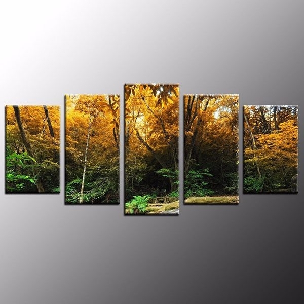 Hd Canvas Print Art Home Decor Jungle Canvas Painting Wall Art 5Pcs Intended For Fashionable Jungle Canvas Wall Art (View 3 of 15)