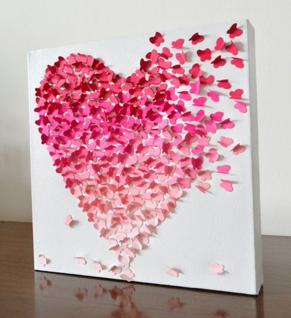 Heart 3D Wall Art Regarding Trendy 3D Butterfly Heart Wall Art – Small Pink Ombre / Nursery Decor (Gallery 3 of 15)