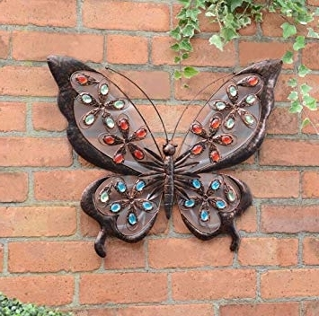 Hk: Large Solar Powered Metal Jewelled Butterfly Wall Art: Amazon.co Pertaining To Best And Newest Large Metal Butterfly Wall Art (Gallery 6 of 15)
