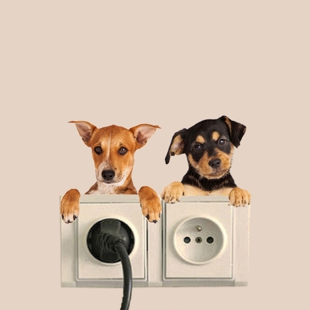 Hole View Vivid Cats Dog 3D Wall Sticker Bathroom Switch Living Room For 2017 Dogs 3D Wall Art (View 3 of 15)