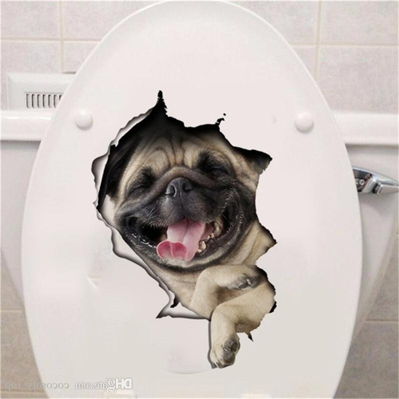 Hole View Vivid Cats Dog 3D Wall Sticker Bathroom Toilet Living Room Within Most Popular Dogs 3D Wall Art (View 5 of 15)