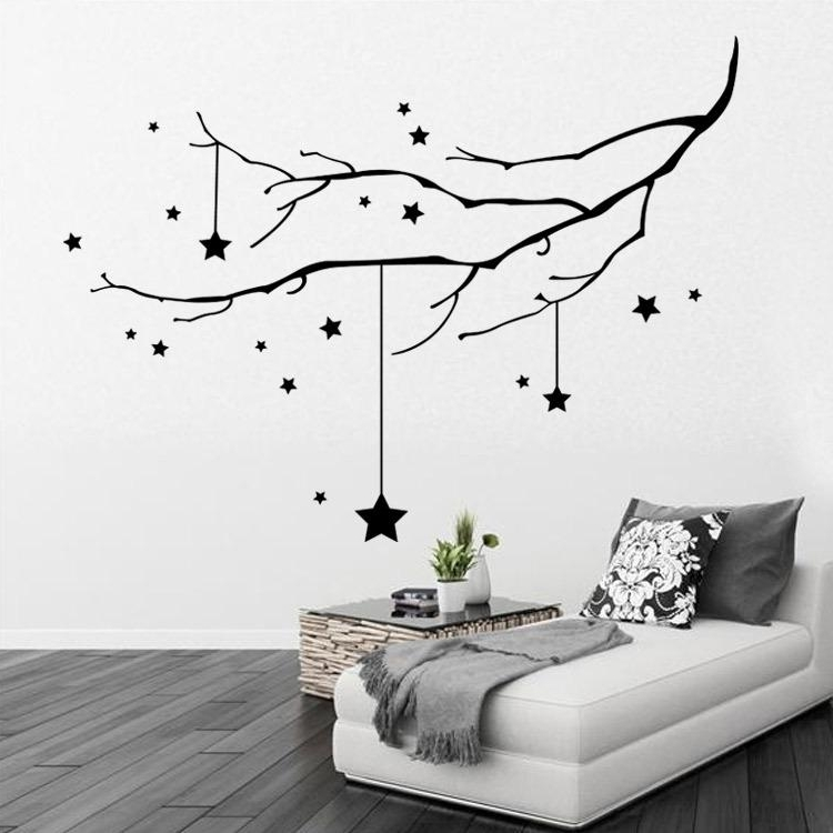 Home Decor Black Star And Tree Branch Wall Decal Sticker Christmas Intended For 2018 Tree Branch Wall Art (Gallery 8 of 15)