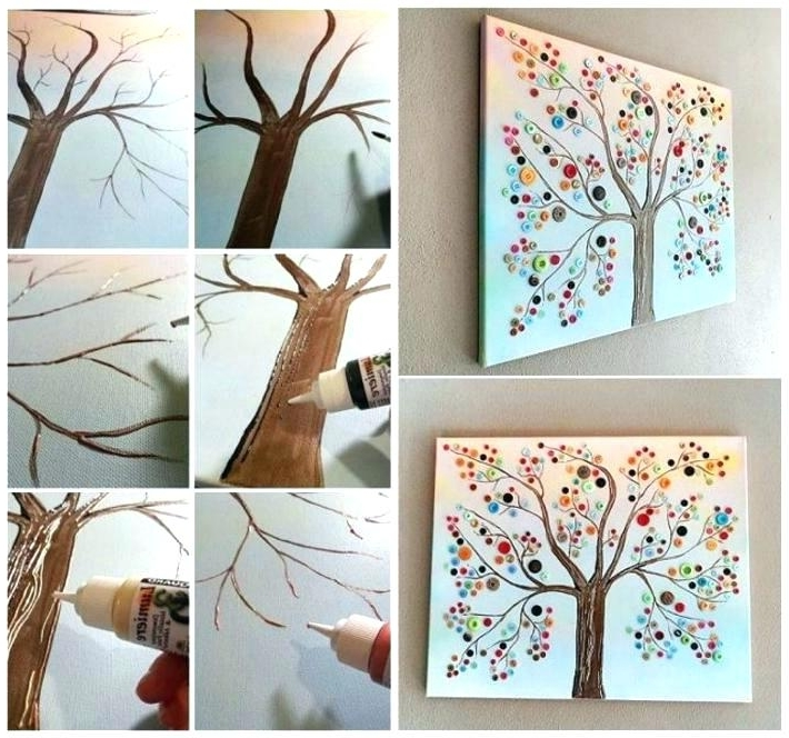 Homemade Wall Art Intended For Most Current Easy Diy Canvas Wall Art Homemade Canvas Art Ideas Button Tree (View 9 of 15)