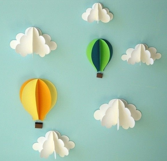 Hot Air Balloon Wall Decal, Paper Wall Art, Wall Decor, 3D Wall Art For Current Air Balloon 3D Wall Art (View 2 of 15)