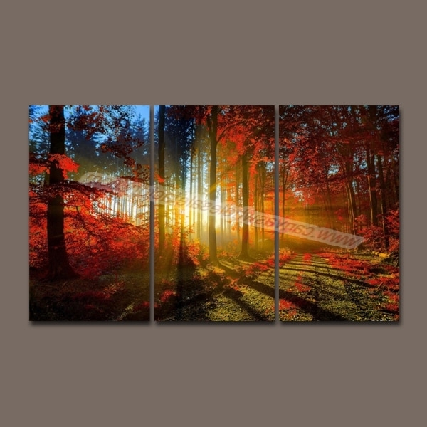 Hot Unframed Wall Art Canvas Painting 3 Piece Canvas Art Prints Red In Favorite 3 Piece Canvas Wall Art Sets (View 7 of 15)