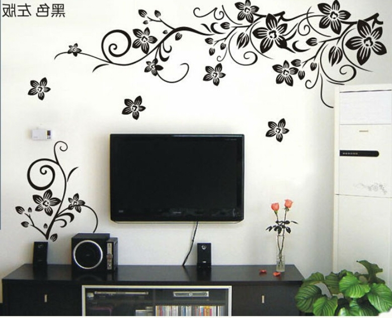 Hot Vine Wall Stickers Flower Wall Decal Removable Art Pvc Home Within Well Known Floral & Plant Wall Art (Gallery 10 of 15)
