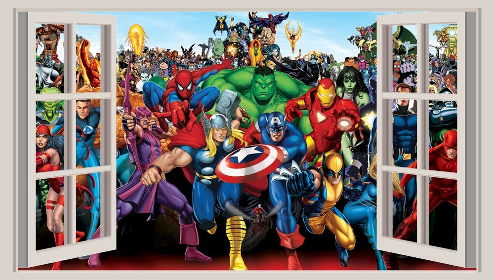 Huge 3D Window Wall Art Sticker – Marvel Heroes Decal Vinyl In Well Known Marvel 3D Wall Art (View 4 of 15)
