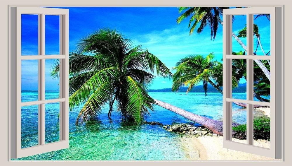 Huge 3D Window Wall Art Sticker – Tropical Beach Decal Vinyl Intended For Trendy Beach 3D Wall Art (Gallery 5 of 15)