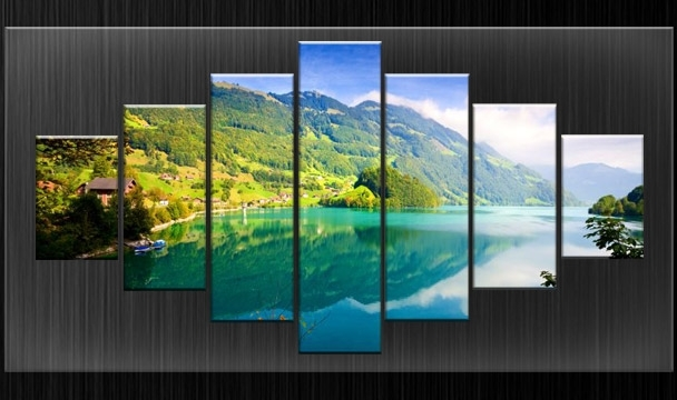 Huge Extra Large Canvas Pictures Wall Art Green Split Nature Multi Within Current Split Wall Art (Gallery 12 of 15)