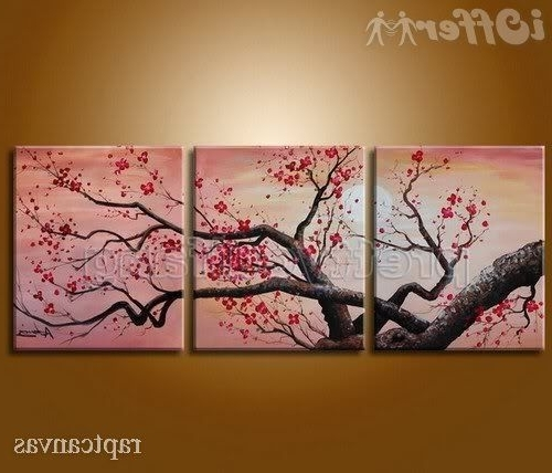 Huge Wall Art Cherry Blossom Flower Oil Painting Deco 3 245C3 Throughout Recent Cherry Blossom Oil Painting Modern Abstract Wall Art (View 15 of 15)