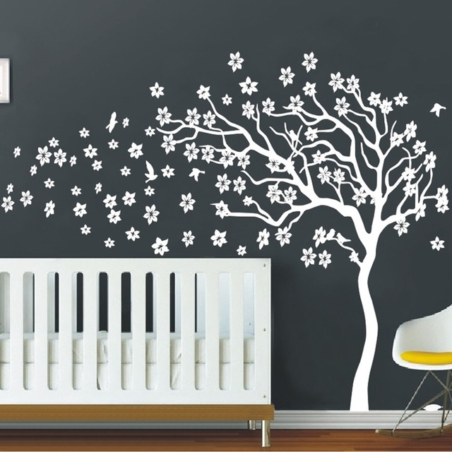 Huge White Tree Flowers 3D Vinyl Wall Decal Nursery Tree And Birds Intended For Recent Vinyl Wall Art Tree (View 2 of 15)