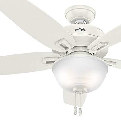 "Hunter 48"" Outdoor Ceiling Fan In Fresh White With Bowl Light Kit Intended For Popular 48 Outdoor Ceiling Fans With Light Kit (View 12 of 15)"
