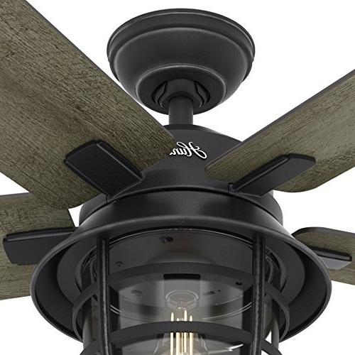 Hunter Fan 54 Weathered Zinc Outdoor Ceiling Fan With A Clear Glass Regarding Favorite Hunter Indoor Outdoor Ceiling Fans With Lights (Gallery 13 of 15)