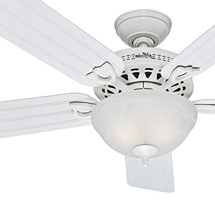 Hunter Fan Outdoor Ceiling Fan In White With A Swirled Marble Light regarding Best and Newest Hunter Outdoor Ceiling Fans With White Lights