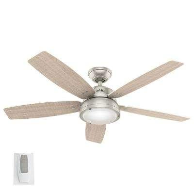 Hunter – Nickel – Outdoor – Ceiling Fans – Lighting – The Home Depot Within Current Nickel Outdoor Ceiling Fans (View 7 of 15)