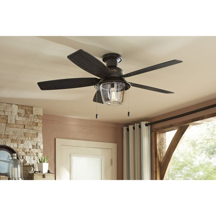 Hunter Outdoor Ceiling Fans With Lights And Remote With Regard To Most Recently Released Ceiling: Outstanding Low Profile Outdoor Ceiling Fans Hugger Ceiling (Gallery 13 of 15)