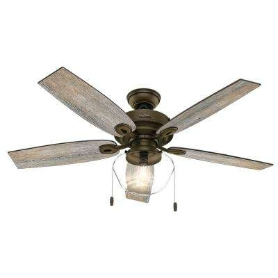 Hunter - Rustic - Outdoor - Ceiling Fans - Lighting - The Home Depot throughout Most Current Hunter Indoor Outdoor Ceiling Fans With Lights