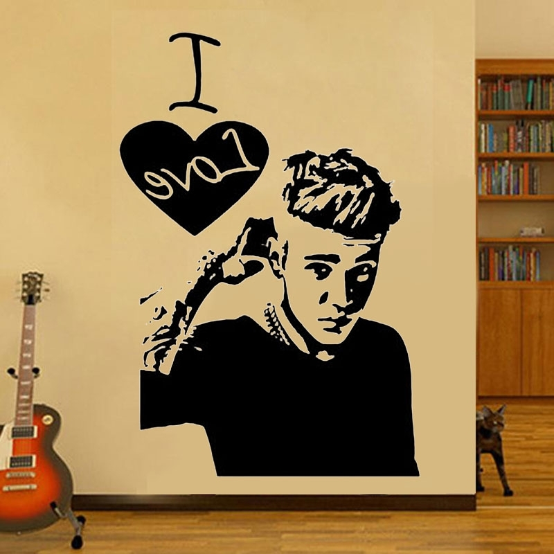 I Love Justin Bieber Wall Sticker Art Celebrity Famous Boys Girls Pertaining To 2017 Justin Bieber Wall Art (Gallery 9 of 15)