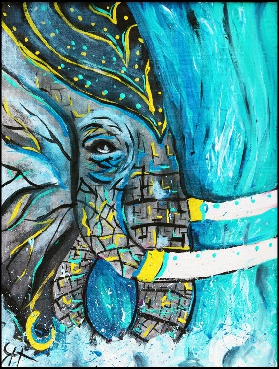 India Abstract Wall Art Inside Fashionable Blue Water Elephant Abstract, Original Painting,modern Art,india (View 6 of 15)