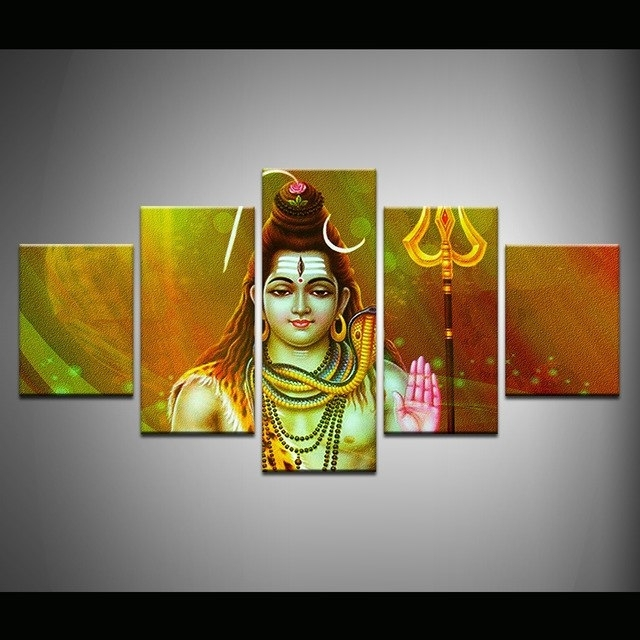 India Abstract Wall Art Inside Most Popular Abstract Canvas Painting Wall Art Poster Style Wall Picture 5 Panel (Gallery 11 of 15)