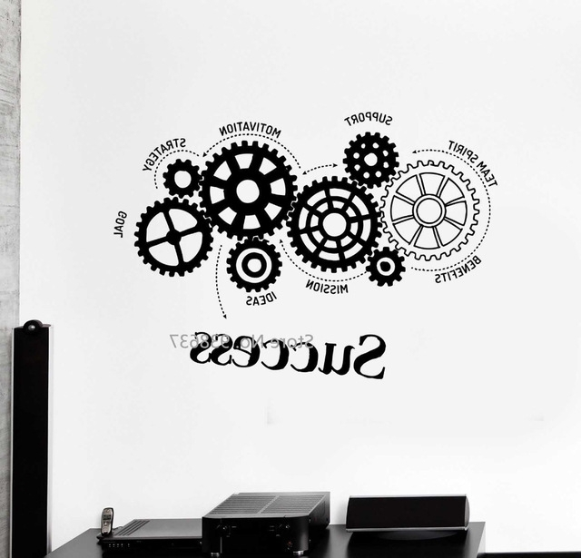 Inspirational Wall Decals For Office inside Recent Quotes Vinyl Wall Decal Success Words Gears Office Motivation