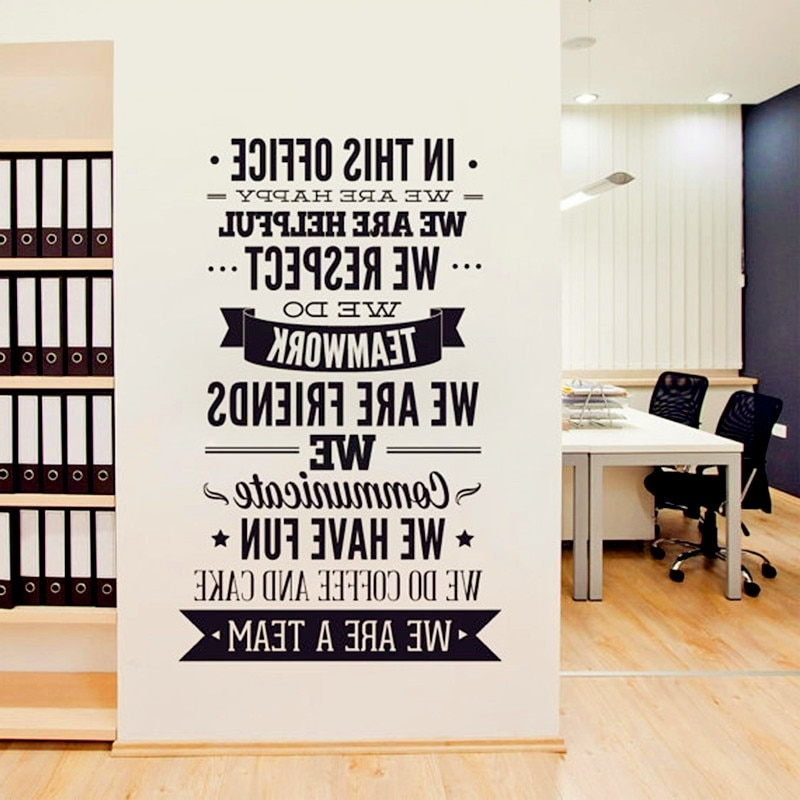 "Inspirational Wall Decals For Office intended for Latest Office Rules Wall Sticker "" We Are A Team"" Increase Team Cohesion"
