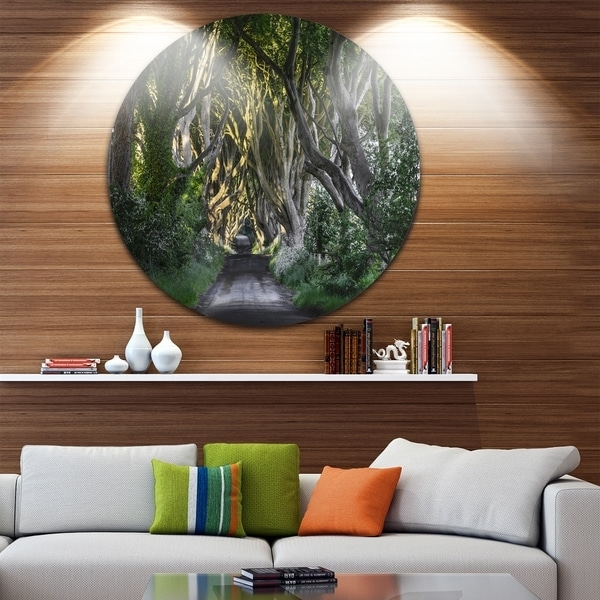 Ireland Metal Wall Art With Regard To Most Recently Released Shop Designart 'the Dark Hedges Ireland Landscape' Photo Round Metal (View 10 of 15)