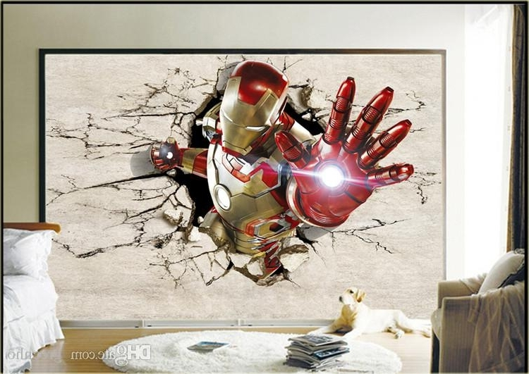 Iron Man 3D Wall Art pertaining to Newest 3D View Iron Man Wallpaper Giant Wall Murals Cool Photo Wallpaper