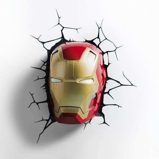 Iron Man 3D Wall Art within 2017 3D Wall Art Nightlight Spiderman Face Inspirational Marvel 3D Wall