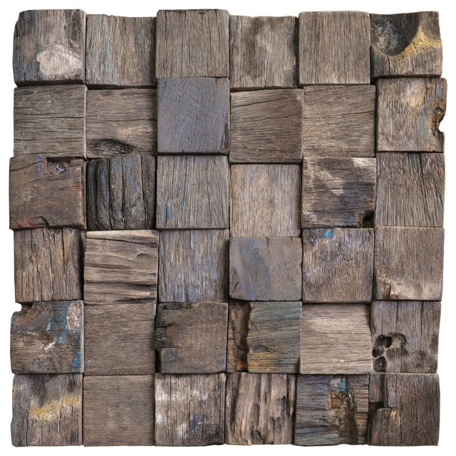 "Jakarta Reclaimed Boat Wood 3 D Wall Tile, 12""x12"" – Rustic – Wall In Well Known Wood 3D Wall Art (Gallery 9 of 15)"