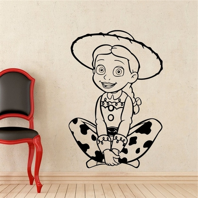 Jessie Toy Story Wall Decal Cartoons Sheriff Woody Vinyl Sticker intended for Famous Toy Story Wall Art