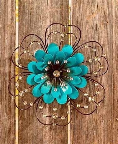 Jeweled Metal Wall Art With Regard To Most Recent Amazon : Jeweled Metal Wall Art ( Blue Flower ) : Everything Else (Gallery 8 of 15)