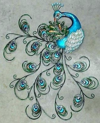 Jeweled Peacock Wall Art For Fashionable Peacock Wall Art Large Decor In With Metal Uk – Meanwhilenews (Gallery 6 of 15)