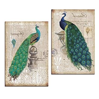 Jeweled Peacock Wall Art Pertaining To Preferred Amazon: Peacock Canvas Art Prints, Peacock Canvas Wall Art Home (Gallery 14 of 15)