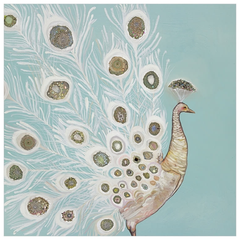 Jeweled Peacock Wall Art with Recent Jeweled White Peacock, Birds Canvas Wall Art