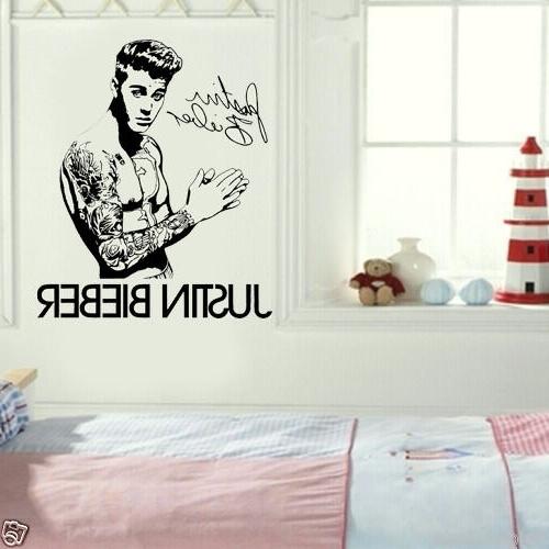 Justin Bieber Diy Autograph Wall Art Sticker/decal#1 Small 49 X 58 regarding Recent Justin Bieber Wall Art