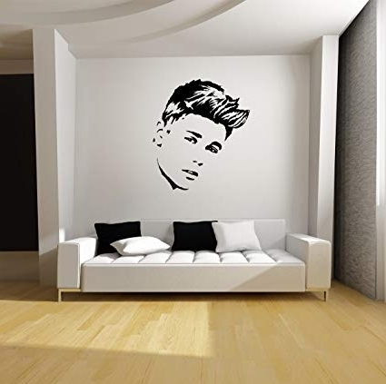 """Justin Bieber Wall Art Intended For Fashionable Amazon: Justin Bieber Wall Art (22"""" W X 25"""" H) Black Vinyl Decal (Gallery 3 of 15)"""