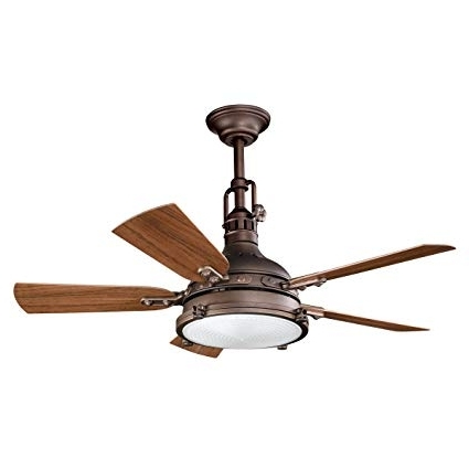 Kichler 310101Wcp Patio 44 Inch Hatteras Bay Patio Fan, Weathered Pertaining To Latest Kichler Outdoor Ceiling Fans With Lights (View 10 of 15)