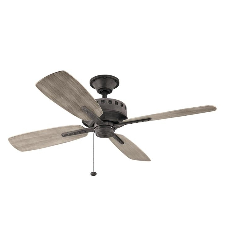 "Kichler 310152 Eads 4 Blades 52"" Indoor/outdoor Ceiling Fan With With Regard To Recent Outdoor Ceiling Fans With Pull Chain (View 6 of 15)"