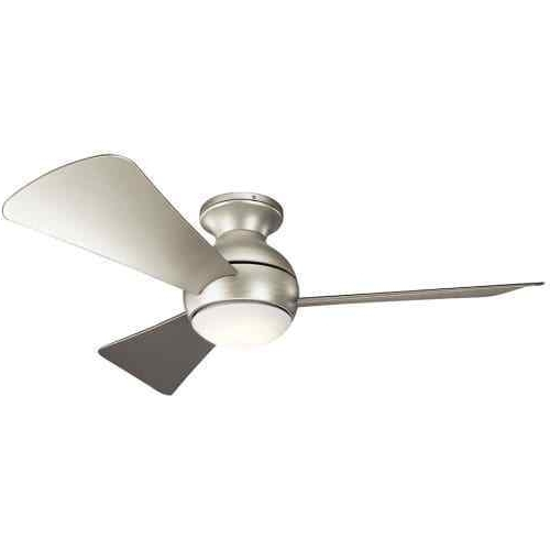 "Kichler 330151Ni Sola 44"" Outdoor Ceiling Fan With Light In Brushed pertaining to Well-liked Brushed Nickel Outdoor Ceiling Fans With Light"