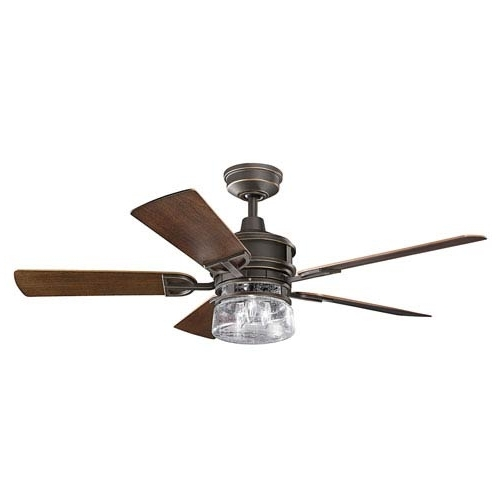 Kichler Outdoor Ceiling Fans With Lights Inside 2018 Kichler Lyndon Patio Olde Bronze 52 Inch Outdoor Ceiling Fan With (Gallery 7 of 15)