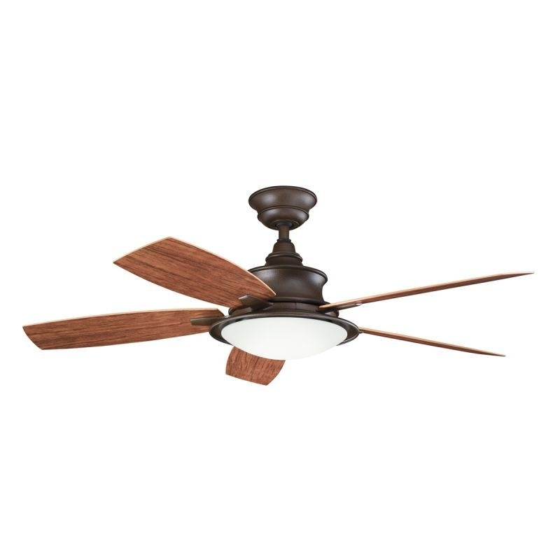 Kichler Outdoor Ceiling Fans With Lights Regarding Best And Newest Kichler 310104Tzp Tannery Bronze Powder Coat W/ Walnut/cherry Blades (View 10 of 15)