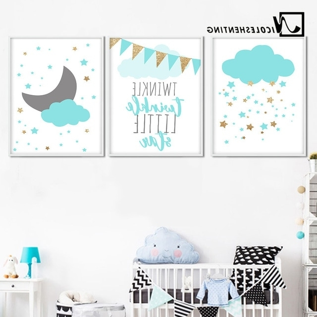Kids Canvas Wall Art With 2018 Blue Clouds Moon Nursery Canvas Wall Art Posters And Prints Large (View 7 of 15)