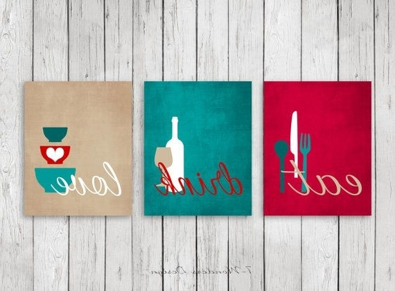 Kitchen Wall Art Print Set – Eat Drink Love – Red, Teal, Tan, White With Most Up To Date Kitchen Wall Art Sets (View 7 of 15)