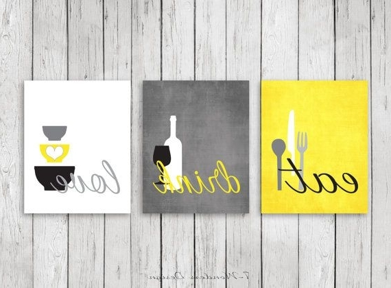 Kitchen Wall Art Print Set - Eat Drink Love - Yellow, Grey, Black within 2018 Kitchen Wall Art Sets