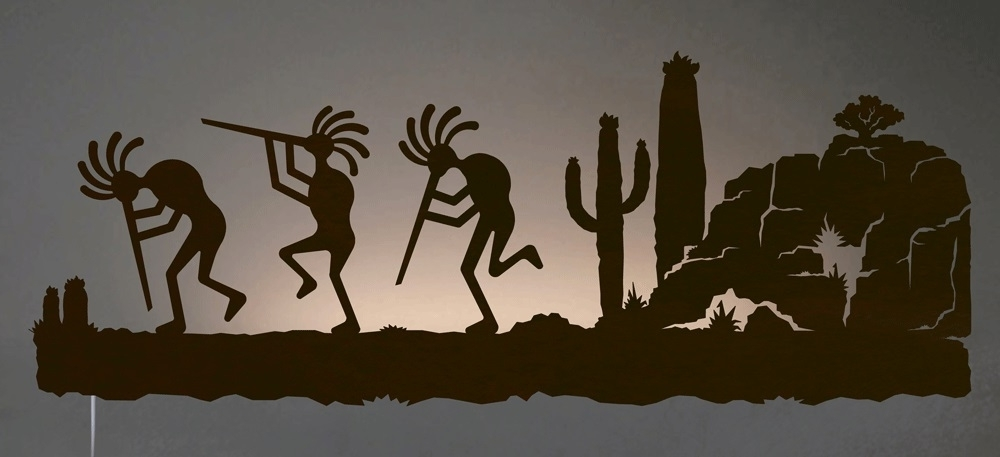 Kokopelli In Desert Southwest Scene Backlit Wall Art 42 Inch Intended For Most Current Kokopelli Metal Wall Art (View 3 of 15)