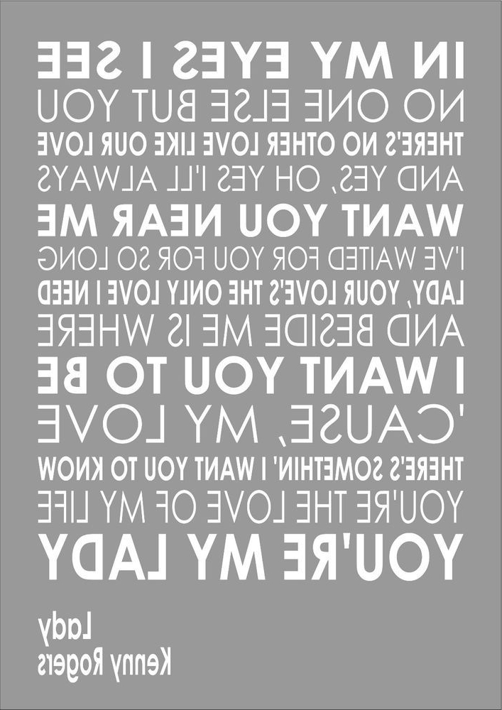 Lady – Kenny Rogers – Word Words Song Lyric Lyrics Wall Art Intended For Most Recent Music Lyrics Wall Art (View 5 of 15)