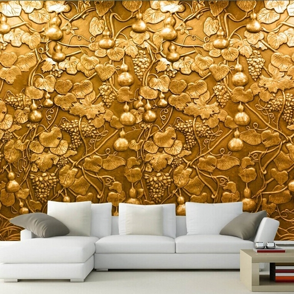 Large 3D Small Gourd Flower Wall Mural Photo Murals Wallpaper For Tv For Well Liked 3D Wall Art Wallpaper (View 1 of 15)