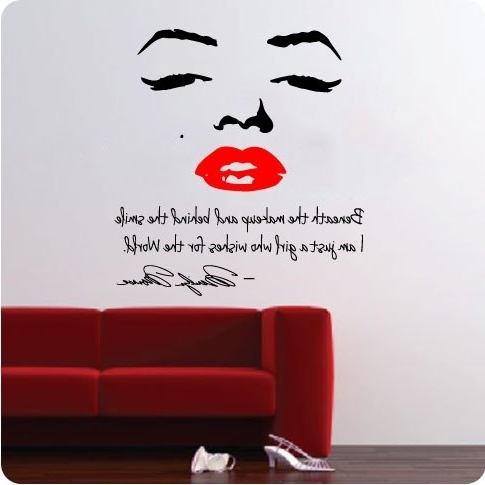 """Large 48"""" Marilyn Monroe Wall Decal Decor Quote Face Red Lips Large intended for Trendy Marilyn Monroe Wall Art Quotes"""